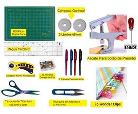 Kit Base De Corte 60 +régua 15x60 + Alicate Prega Botões Top