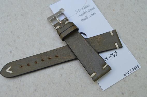 Pulseira Rfóz Couro Verde Militar Vintage 20mm - 201903536