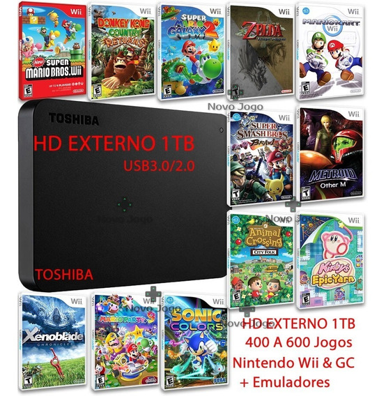 Hd Externo 1tb Para Nintendo Wii E Nintendo Wii U + Jogos