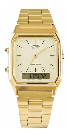 Relógio Vintage Casio Analógico Digital Dourado Aq-230ga-9dm