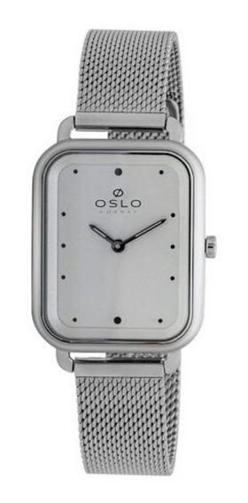 Relógio Feminino Slim Quadrado Prateado Pulseira Telinha +nf