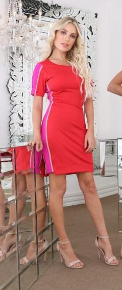 Vestido Midi Vermelho Com Faixa Lateral Pink Zari Tam 42