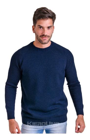 Sweater Hombre Lana Cuello Redondo S/ Costura Azul Kierouno