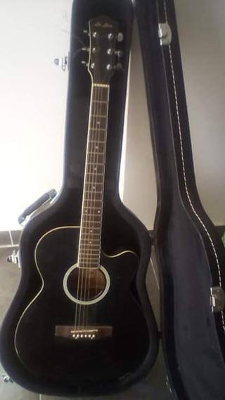 Guitarra Electroacústica La Lira Con Estuche Rígido Y Pedal