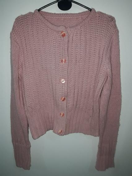 Sweater Saco Corto De Lana Con Botones Color Rosa