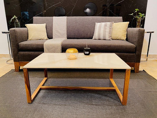 Mesa Living Diseño Mármol Madera Petiribi A Medida. Seña