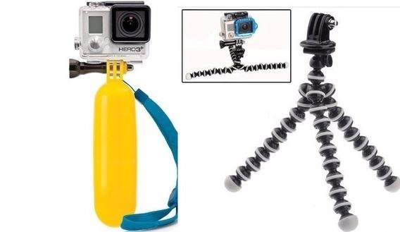 Kit Gopro Hero Mini Tripé Ajustável Gopro + Bastão Flutuante