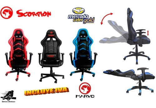 Silla Gamer Reclinable Marvo Ch104 Ergonómica Incluye Iva