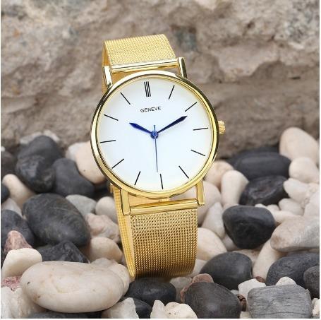 Relógio De Pulso Unissex Geneve Quartz Lançamento