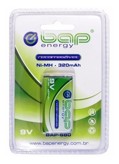Bateria Recarregável 9v 320mah Bap-680