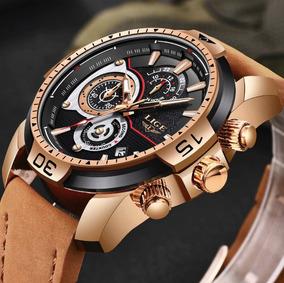 Relógio Masculino Social Dourado Com Marrom Importado Novo