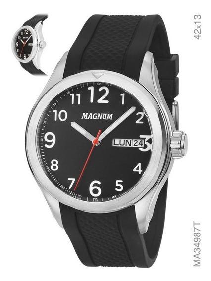 Relógio Magnum Masculino Ma34987t Pulseira Silicone Preto