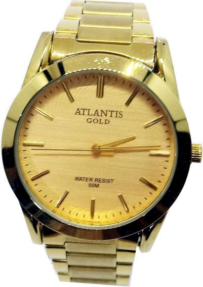 Relógio Atlantis Masculino Dourado G3257