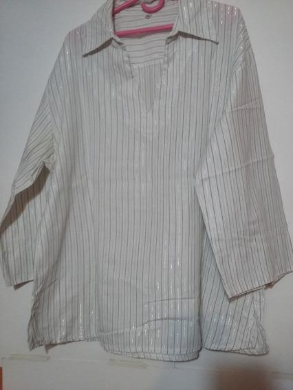 Camisa Mangas 3/4 Rayada De Hilo