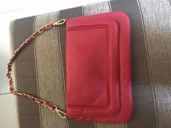Bolsa Vermelha De Mão Ou Ombro Usada