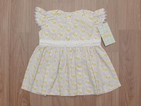 Vestido Com Bico Floral Cinza E Amarelo