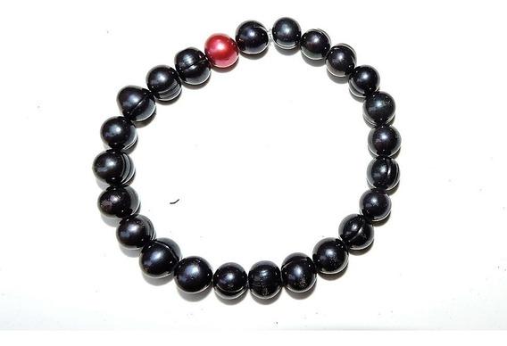 Pulsera Perla Cultivada Negro 18 Cm / 7-8 Mm