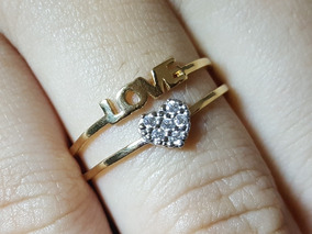 Anel Nome Love Ouro 18k Coração Cravejado Pedras Zircônias