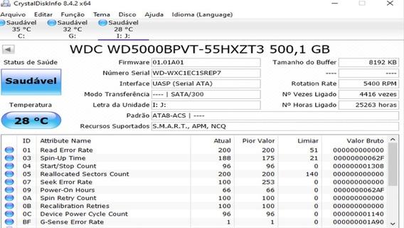 Hd Wd 500gb - Wd5000bpvt - Vide Descrição