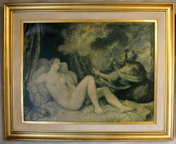 Cuadro Mujer Desnuda Marco Dor Hoja Reliquia Hermoso
