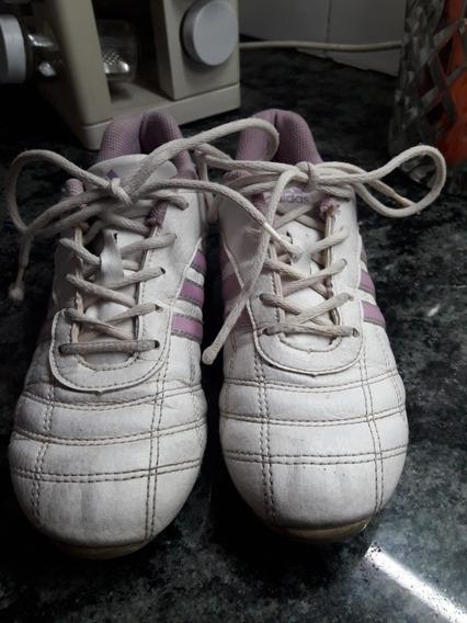 Zapatillas De Cuero Blanco Y Rosa adidas