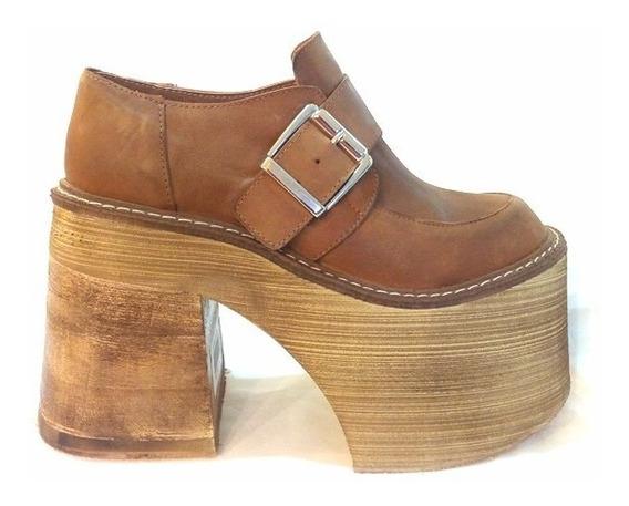 Zapato Cuero Con Plataforma Goma Eva 4000. Marca Angkor