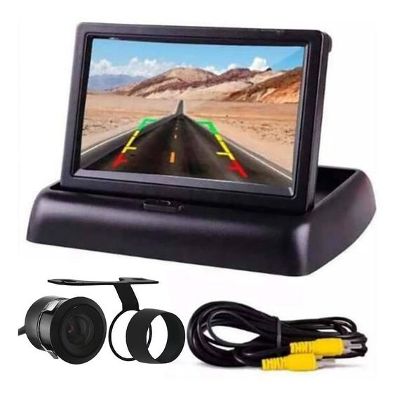 Kit Estacionamento Câmera Ré E Tela Auto Monitor 4.3 Rca