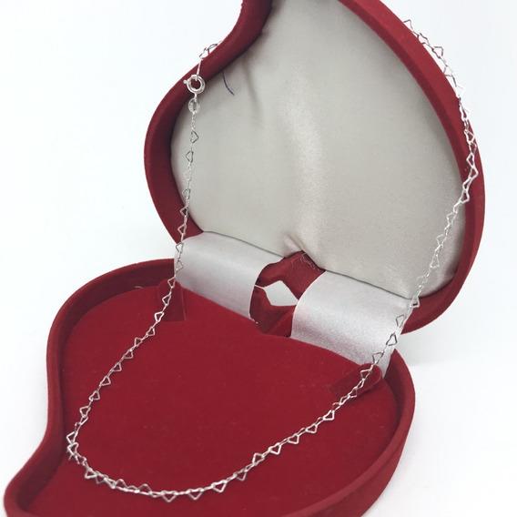 Colar Gargantilha Corrente Mini Coração Prata 925 45cm 3mm