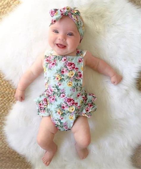 Vestido Romper Jumpsuit Flores+ Bandita Para Bebe Niña 2pz
