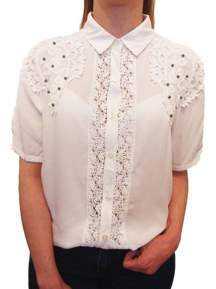 Camisa Mujer Bordada Importada Encaje Perlas