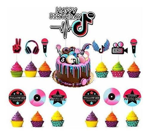 Tik Tok Cake Topper Para Niñas Decoraciones De Fiesta De Cum