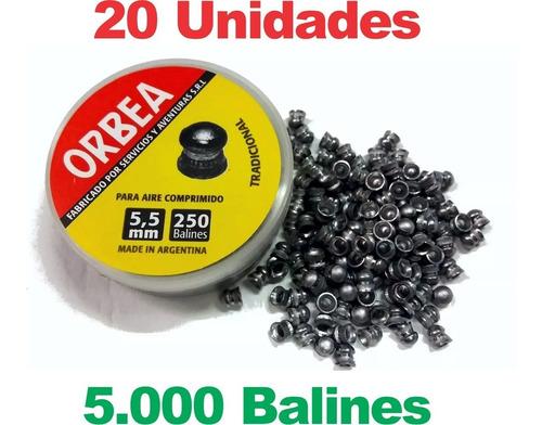 Imagen 1 de 5 de Balines 5,5 Mm Orbea 250 X 20 Aire Comprimido - Caza + Envío