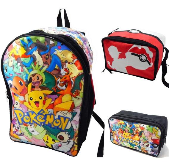 Mochila Pokemon Combo Lonchera Lapicera Pikachu Ash Eevee