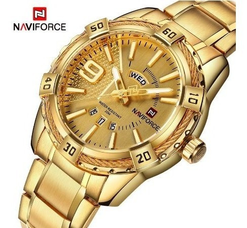 Relógio Analógico Naviforce Dourado Prova Dágua Luxo Fashion