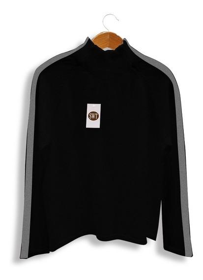 Sweater Pullover Cuello Polo Franjas En Las Mangas Mod Evasé