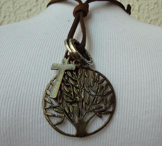 Colar Masculino Ou Feminino Cordão Pingente Árvore Da Vida
