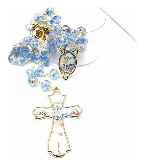Terço De Cristal São Miguel Arcanjo Facetado Azul