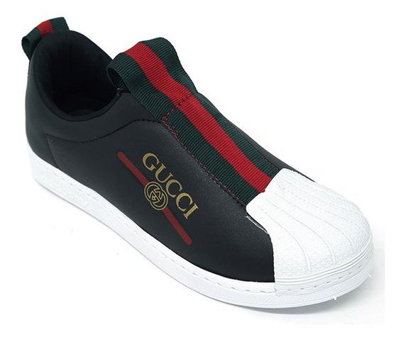 Tênis Gucci Superstar Preto E Branco + Um Chinelo