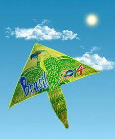 Pipa Em Nylon Aguia Verde Resistente Facil Voar