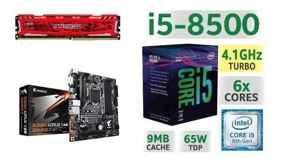Kit I5-8500 Lga 1151 + Placa Mãe Aorus B360m + Ddr4 8gb