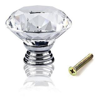 Kit 11 Puxadores Maçaneta Puxador P/ Gaveta Porta Móveis Armário Estilo Cristal Vidro Diamante Luxo Super Brilho 30mm