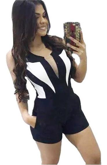 Macaquinho Feminino Plus Size Bicolor Macacão 2019 Curto