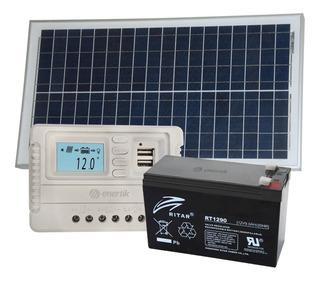 Kit Panel Solar 30w Regulador 5a Bateria 12v 7ah - Enertik