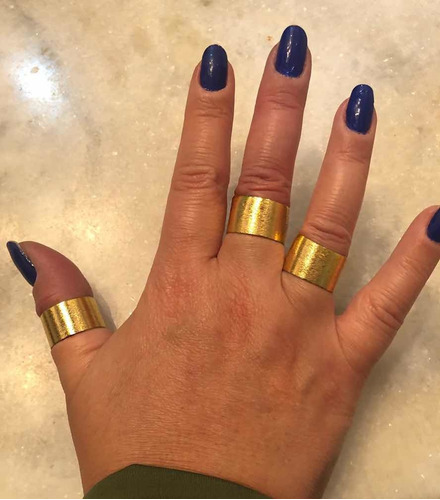 Conjunto 3 Anéis Dourados Reguláveis