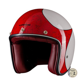 Capacete Lucca Custom Old Glossy White Red Com02 Viseiras
