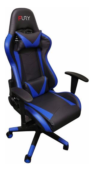 Cadeira Gamer Fury 7000 - Braço Ajustável, Recli 180º Azul