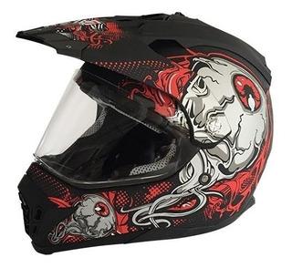 Casco Doble Proposito R7 Racing 901 Certificado Negro/rojo