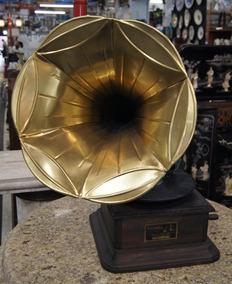 Gramofone Vitrola A Corda Antiga De Madeira Maciça Usa 1927