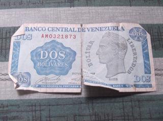 Vendo Billete De Dos Bolivares Vintage Estado Medio