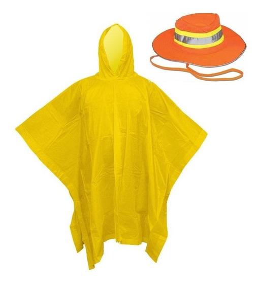 1 Poncho Capamanga Impermeable + Sombrero Reflejante